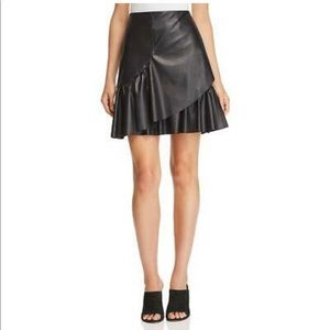 REBECCA TAYLOR Vegan leather Tiered Ruffle skirt